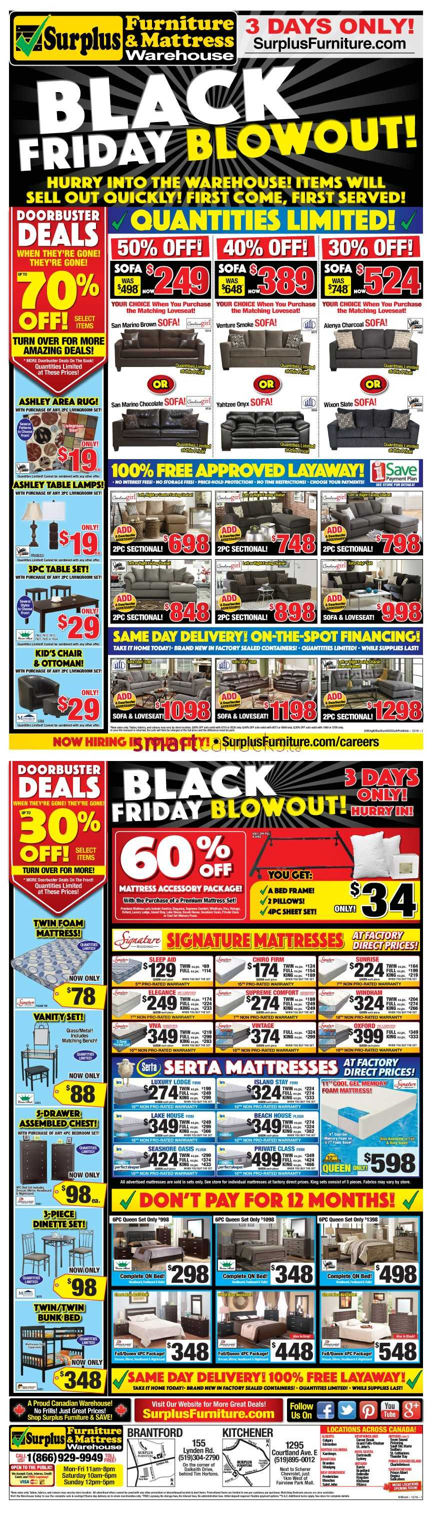 Surplus Furniture & Mattress Warehouse (Kitchener) Black Friday ...