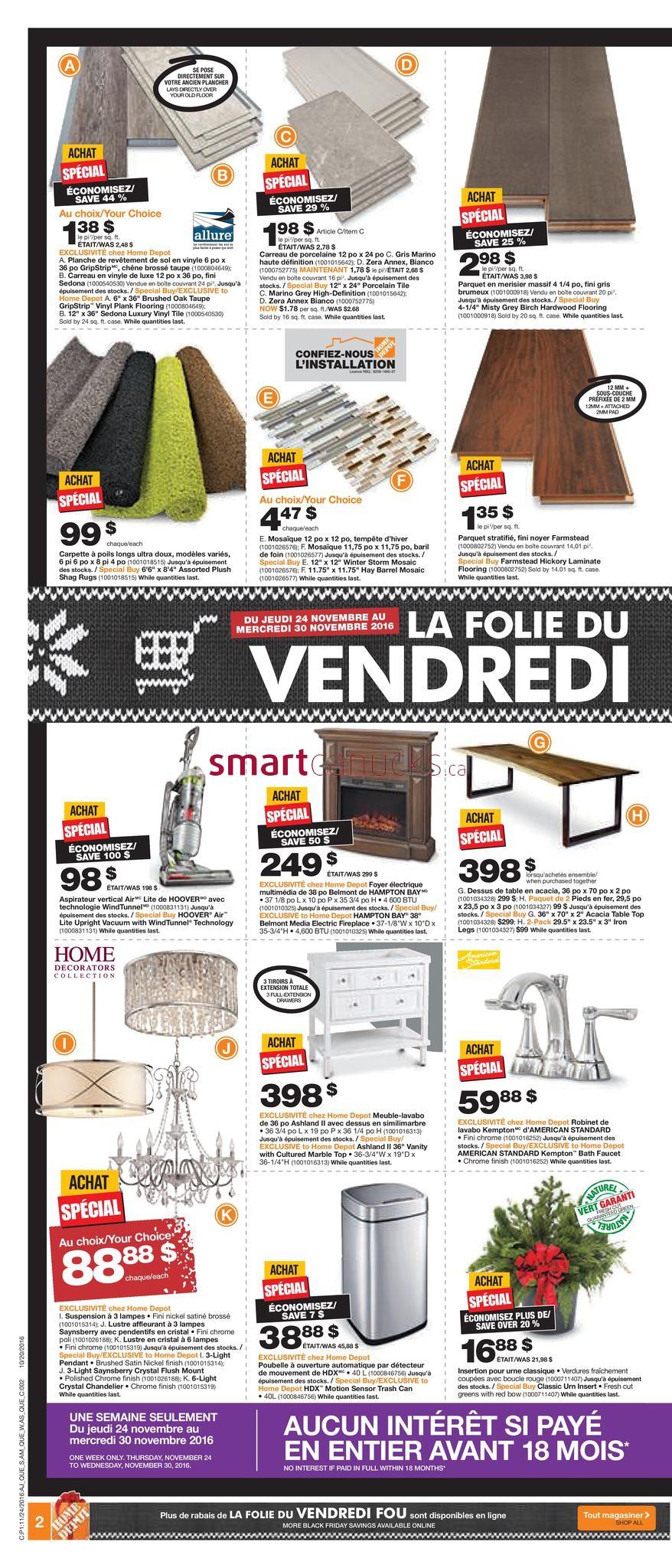 home depot qc black friday flyer november 24 to 30. Black Bedroom Furniture Sets. Home Design Ideas