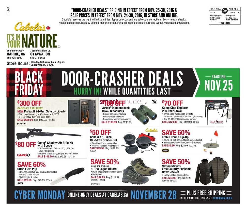 While our Black Friday Sale may only happen once a year, Cabela's is always offering deals on quality outdoor merchandise. Feel free to explore the savings on hunting gear, shooting supplies, fishing tackle and camping equipment.