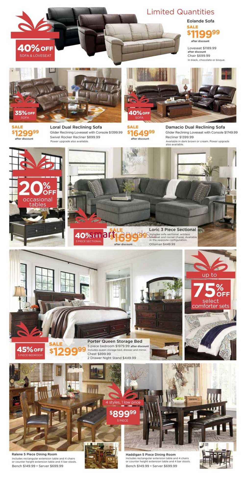 Ashley homestore west flyer december 15 to 23 for Ashley homestore canada