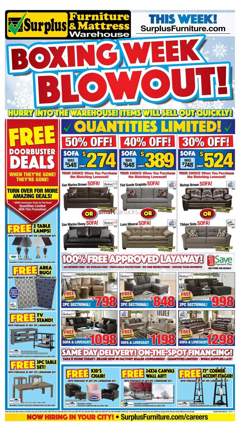 Surplus Furniture Mattress Warehouse Brandon Boxing Week Blowout Flyer December 22 To January 2