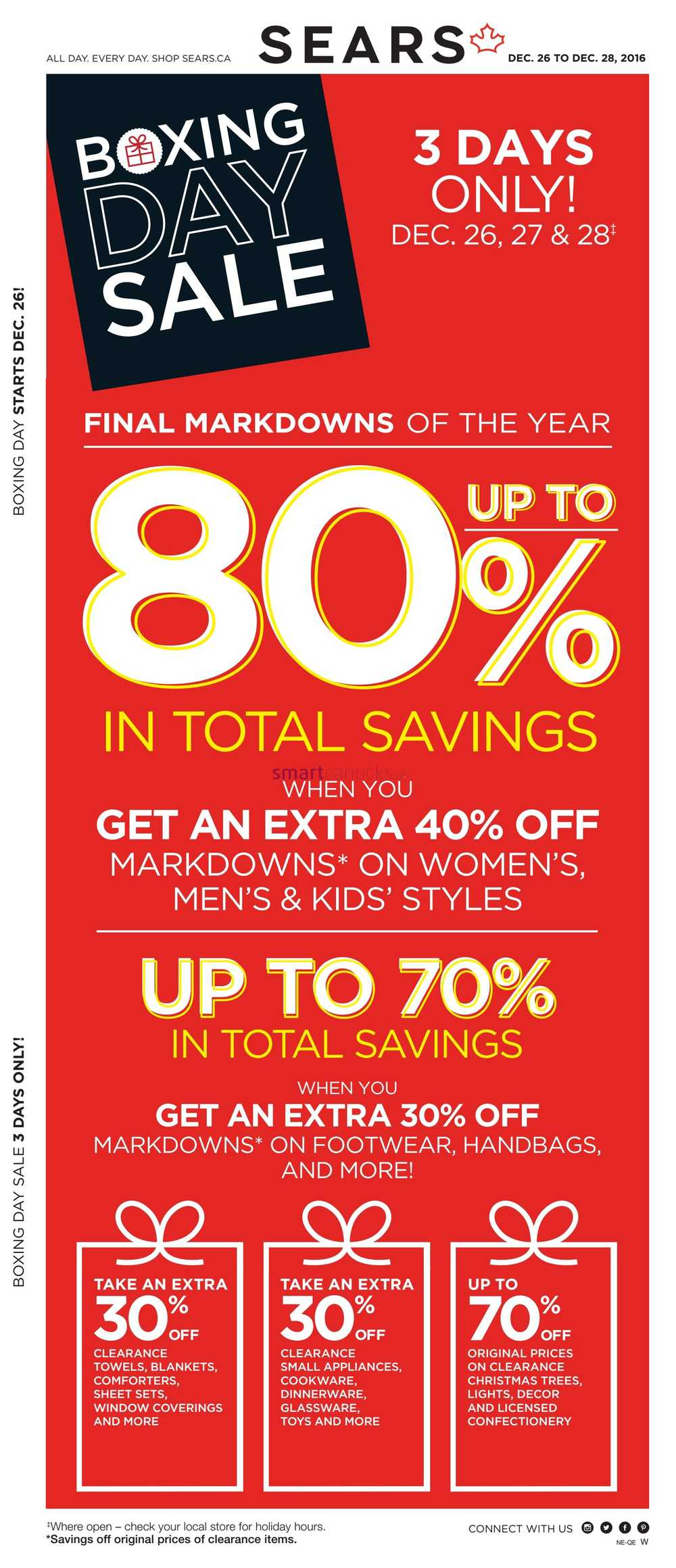 Sears Boxing Day Sale Flyer December 26 to 28