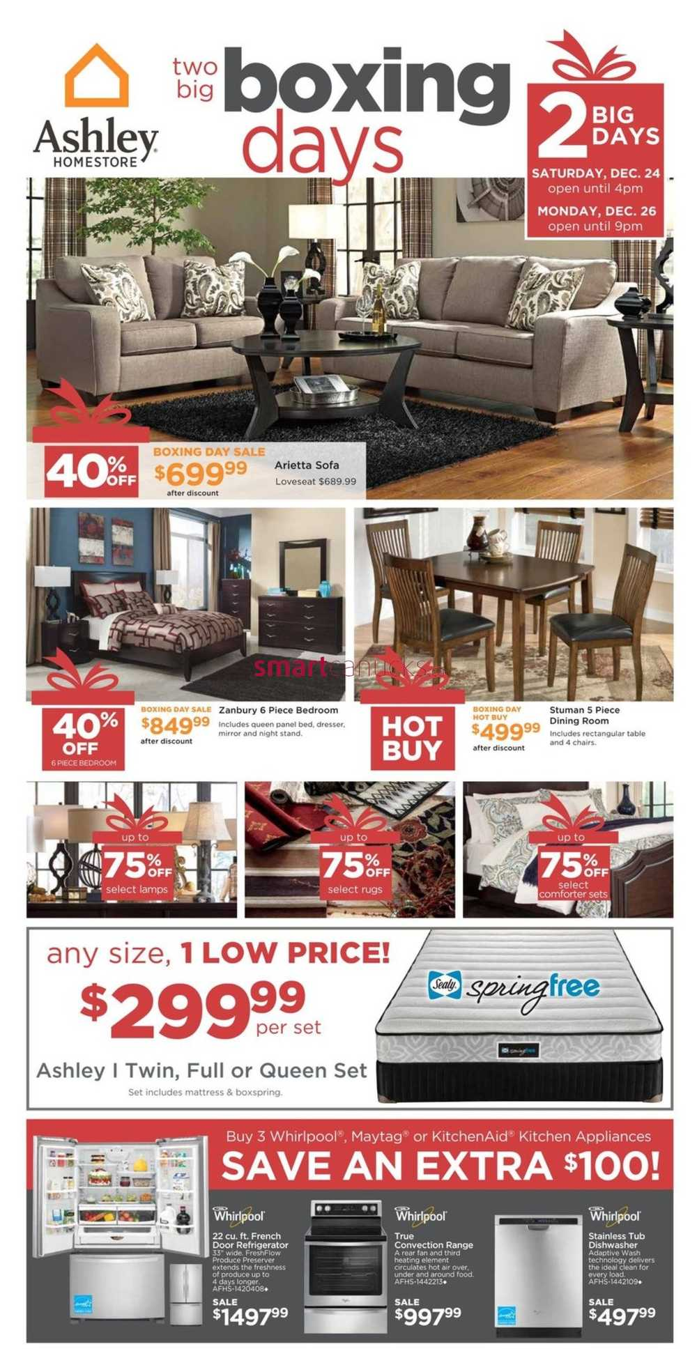 Ashley homestore west boxing day flyer december 24 26 for Home shop 24