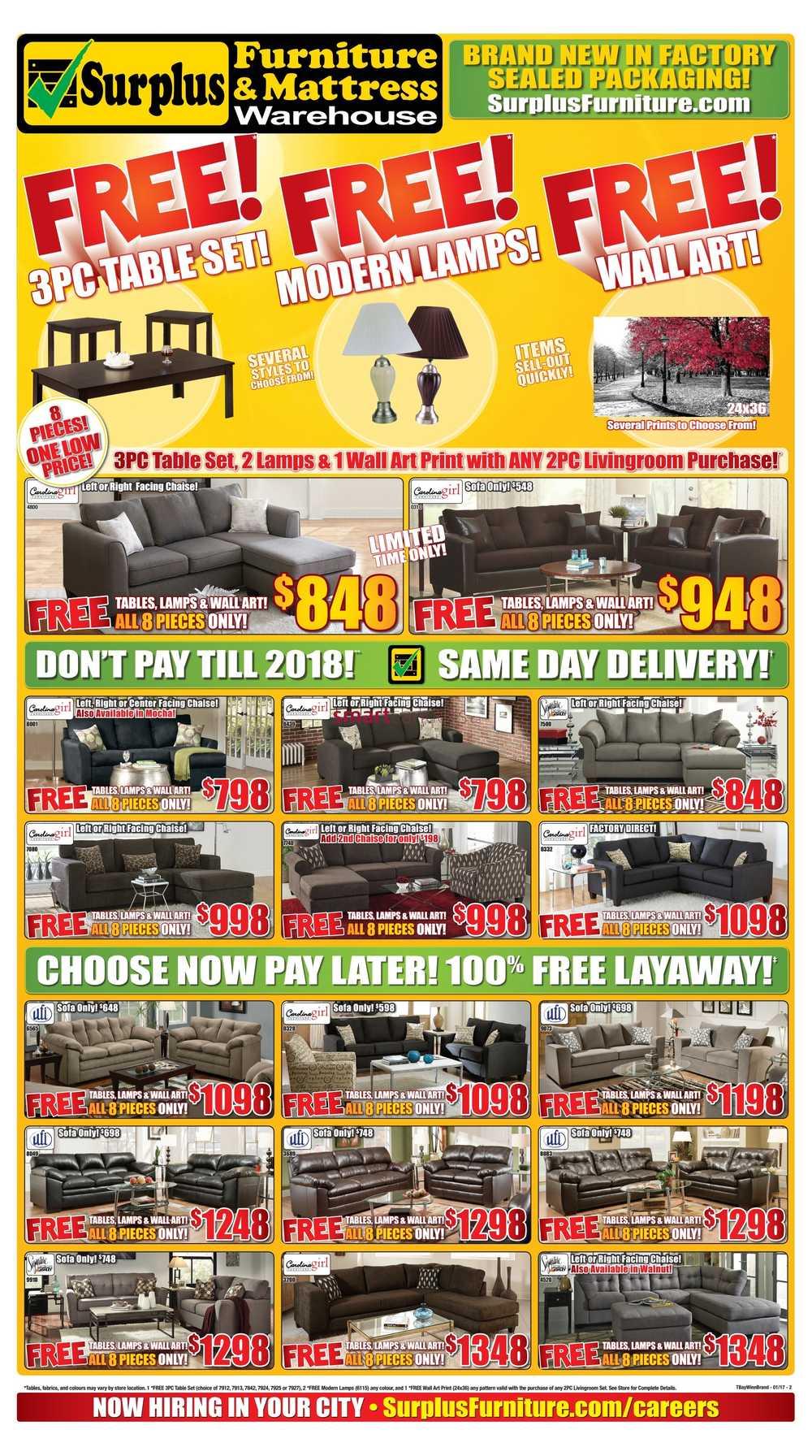 Surplus Furniture Mattress Warehouse Winnipeg Flyer January 3 To 23