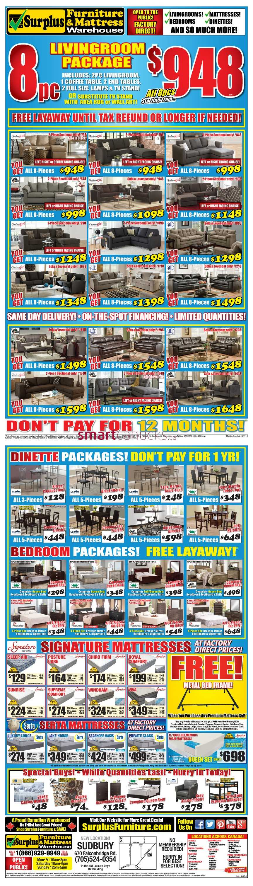 Surplus Furniture Mattress Warehouse Sudbury Flyer February 7 To 27
