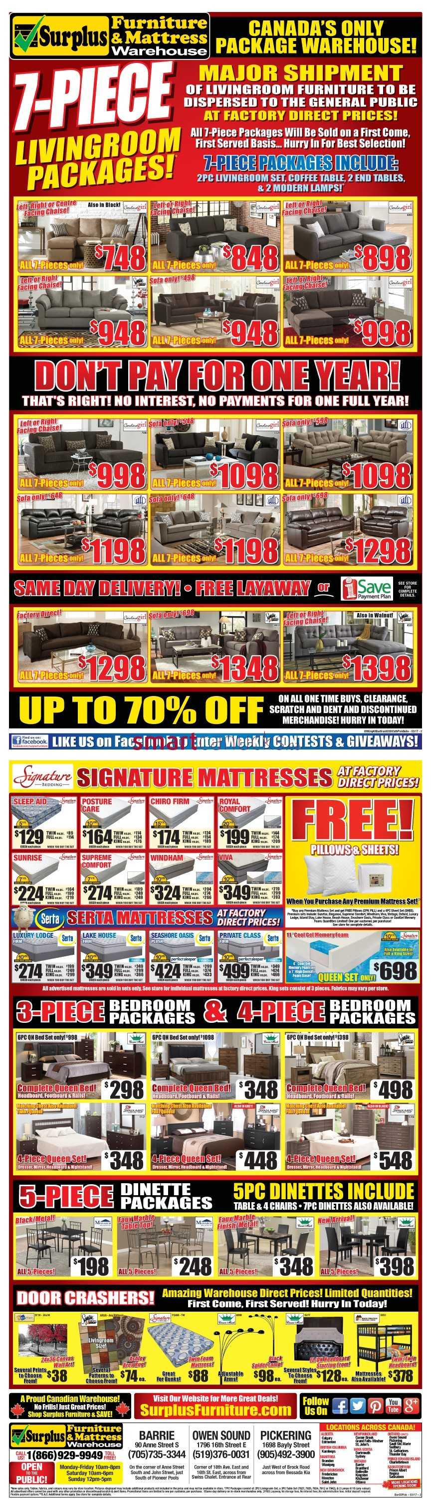 Surplus Furniture Mattress Warehouse Barrie Flyer March 7 To 20