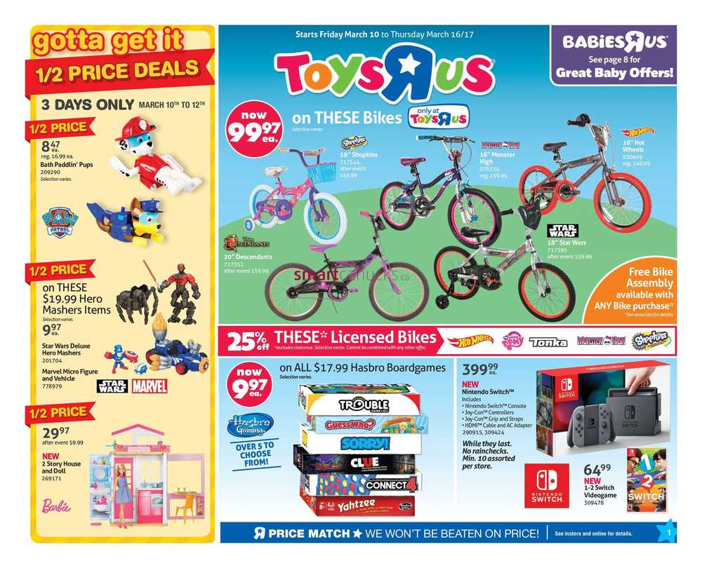 toys r us flyer march 10 to 16. Black Bedroom Furniture Sets. Home Design Ideas