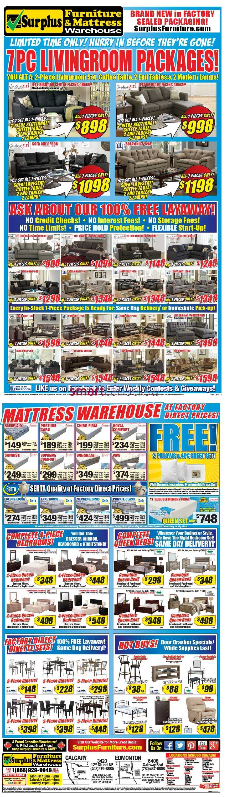 Surplus furniture mattress warehouse edmonton flyer for Surplus furniture and mattress edmonton