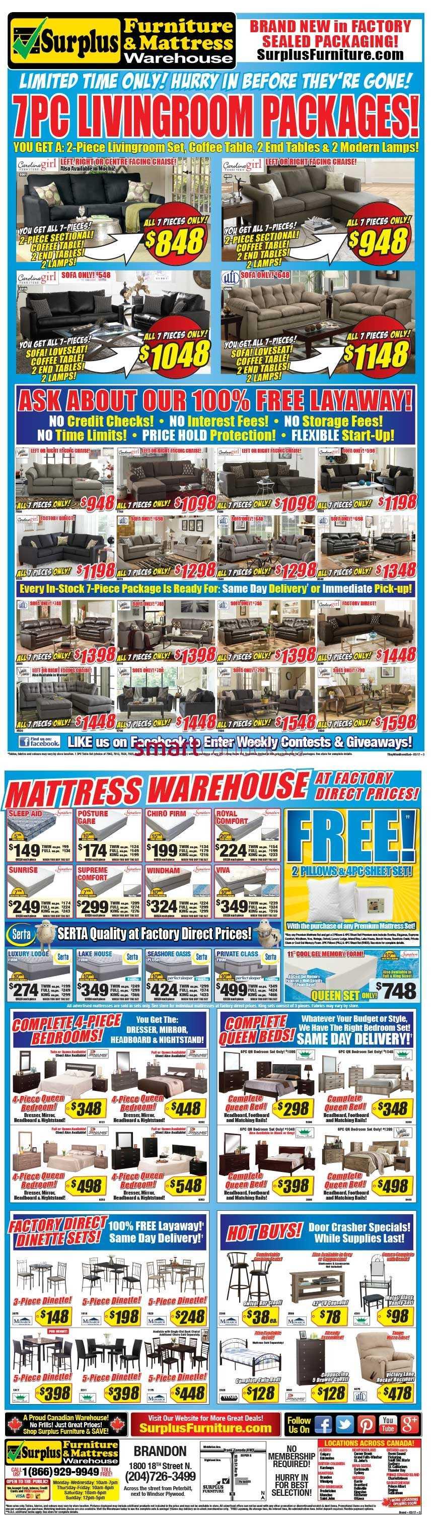 Surplus Furniture Mattress Warehouse Brandon Flyer March 21 To April 3
