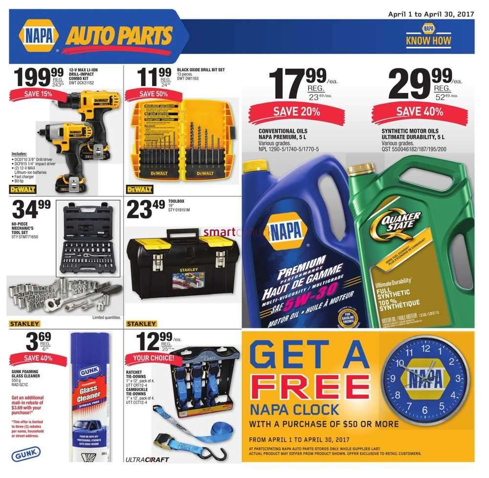 NAPA Auto Parts Flyer April 1 to 30