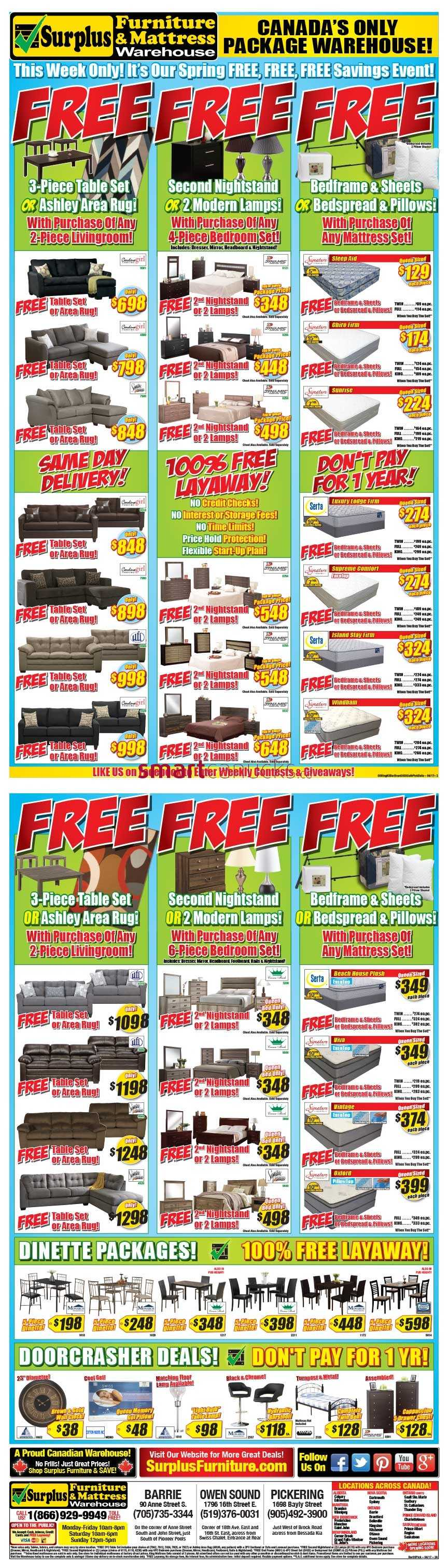 Surplus furniture and mattress warehouse canada flyers for Surplus furniture and mattress barrie