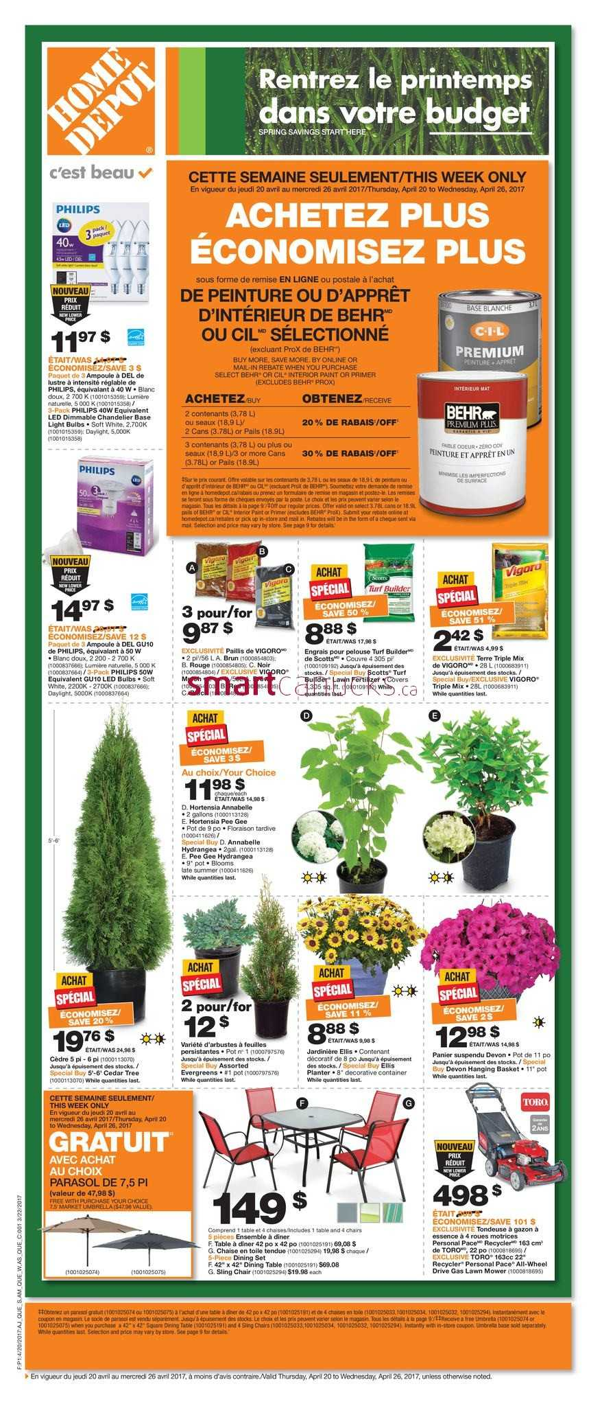 home depot flyers home depot qc flyer 20 to 26