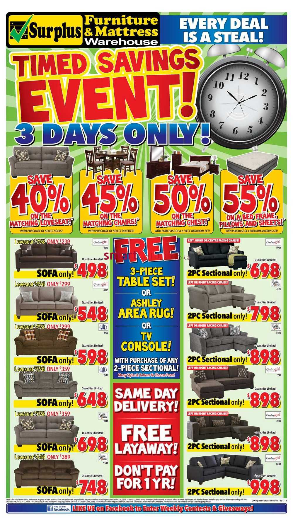 Furniture Kitchener Surplus Furniture And Mattress Warehouse Canada Flyers