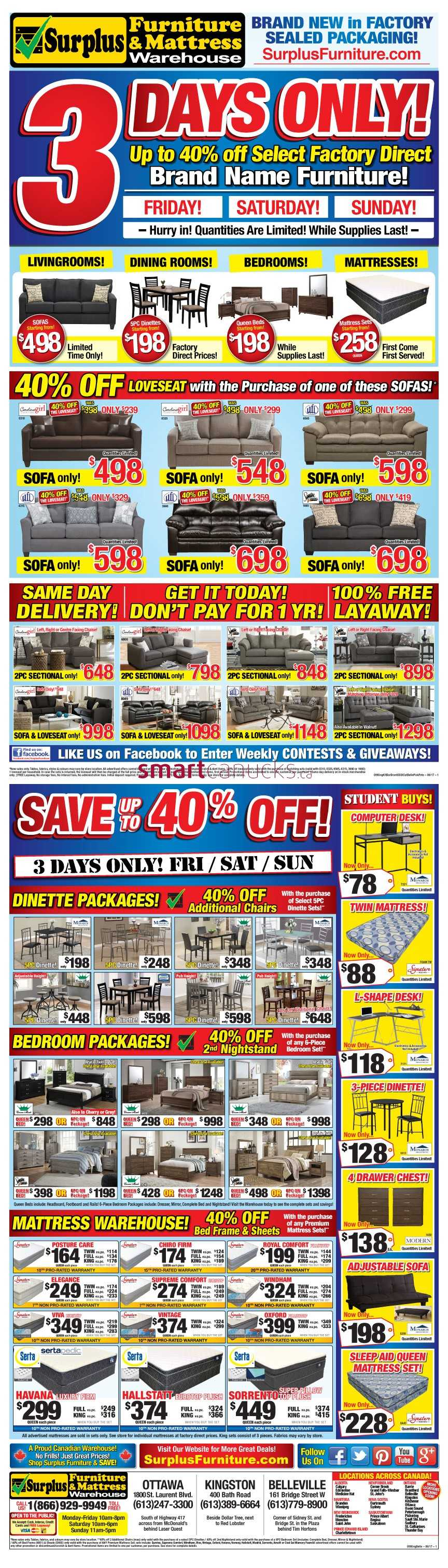 Surplus Furniture Mattress Warehouse Ottawa Flyer August 29 To