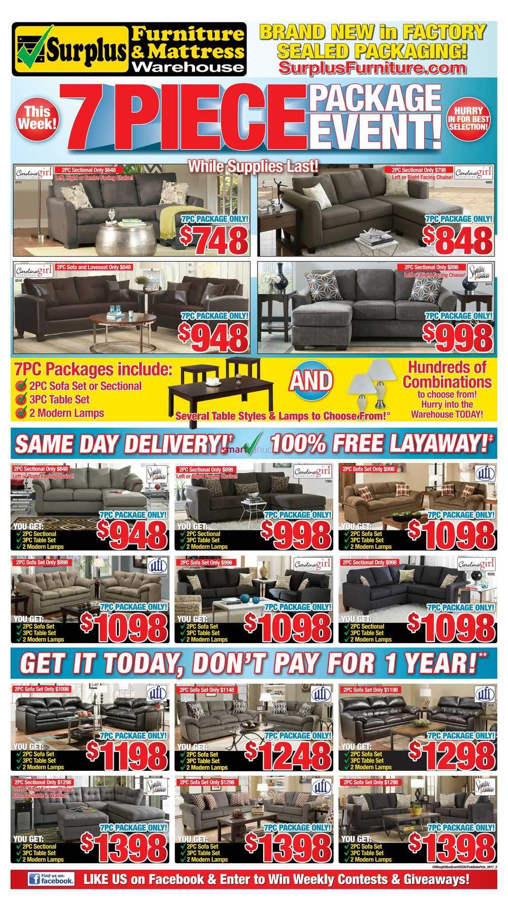 Surplus Furniture Mattress Warehouse Brantford Flyer September