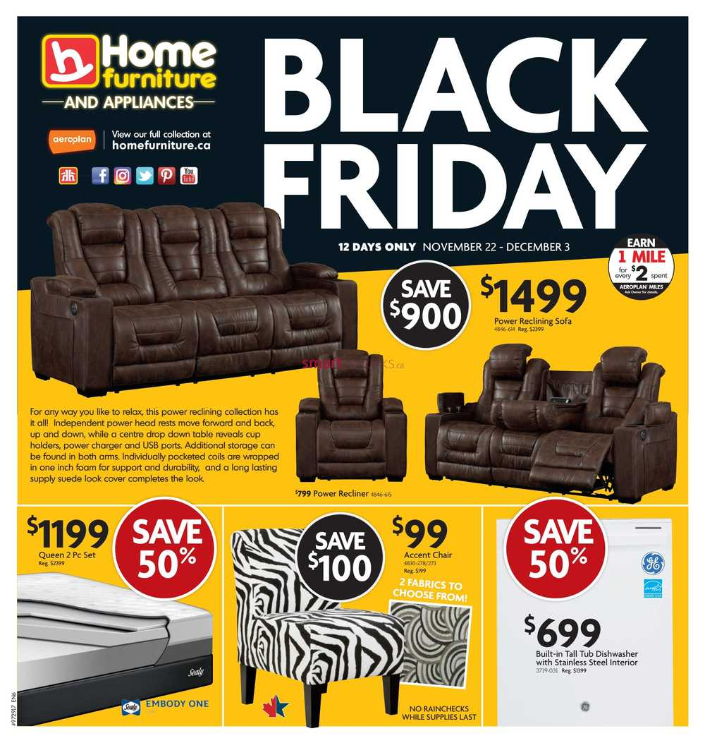Home furniture canada flyers for Furniture black friday