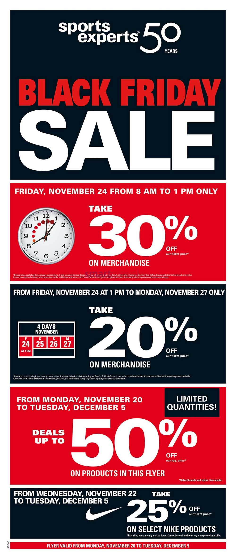 lowest price c163b 08213 Sports Experts Black Friday Flyer November 20 to December 5