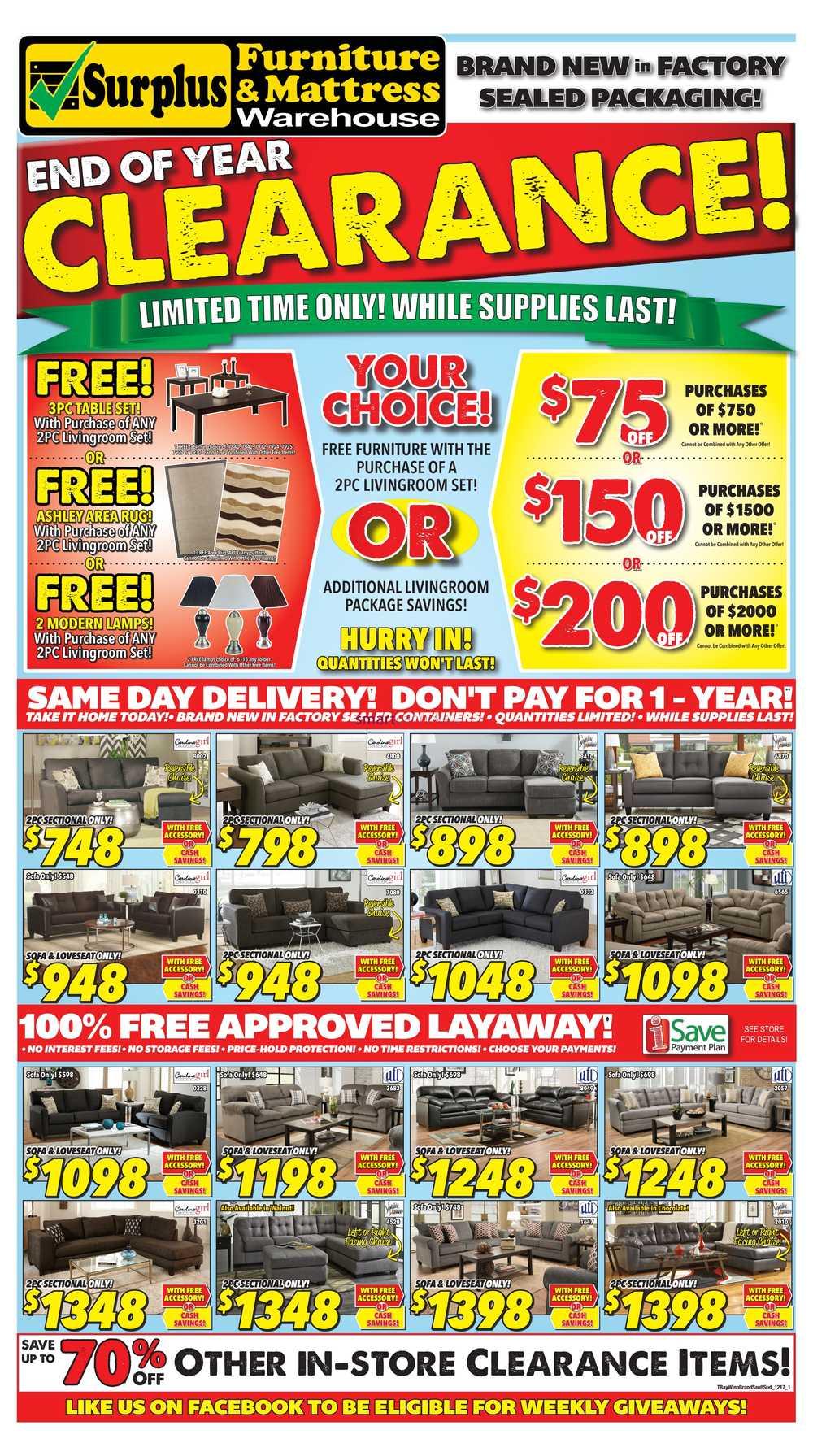 Surplus Furniture U0026 Mattress Warehouse (Winnipeg) Flyer November 28 To  December 18