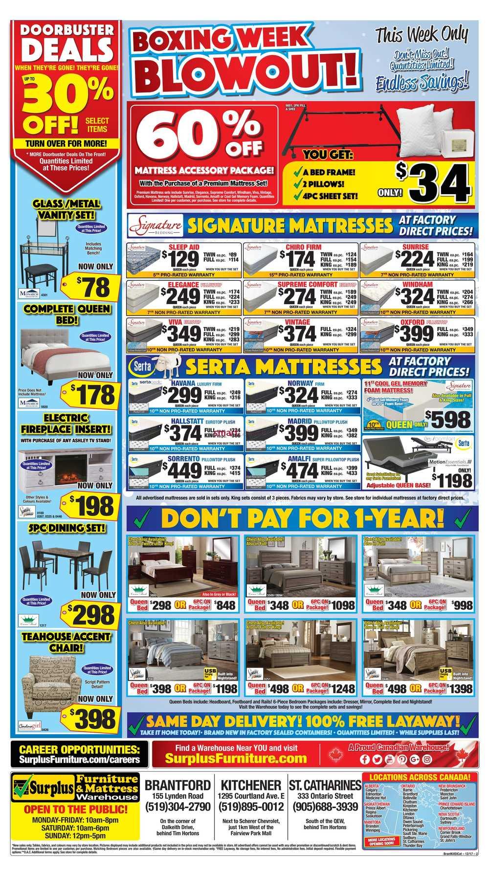 Surplus Furniture & Mattress Warehouse (Kitchener) Boxing Week Flyer ...